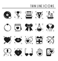love line icons set happy valentine day vector image