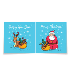 Merry christmas card with santahappy new year vector