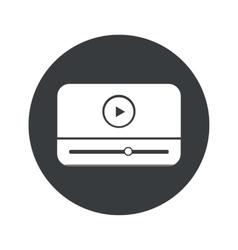 Monochrome round mediaplayer icon vector
