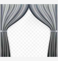 Naturalistic image of curtain open curtains gray vector
