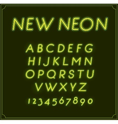 Neon Italic Font Type Alphabet Glowing in With vector image vector image