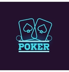 Poker Blue Neon Sign vector image
