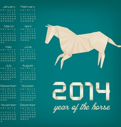 Retro calendar for the year 2014 Origami horse vector image