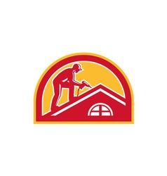 Roofer Working on Roof Half Circle Retro vector image