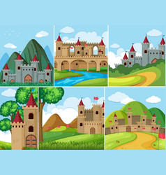 Scenes with castle towers in the mountains vector