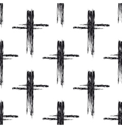 Seamless pattern with black grunge crosses vector image vector image