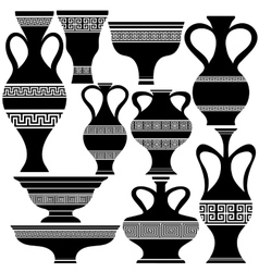 Set of Greek Amphora Silhouettes vector image