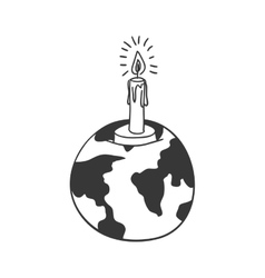 Silhouette earth world map with candle vector