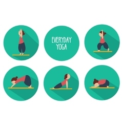 Simple yoga poses for beginners isolated vector