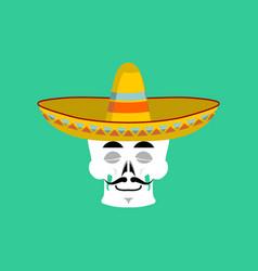 Skull in sombrero sleeping emoji mexican skeleton vector