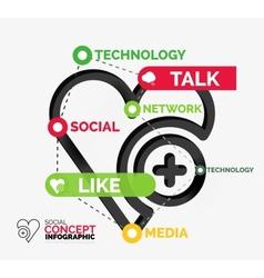 Social like infographic keywords vector image
