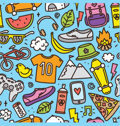 Teenager hipster objects seamless pattern vector