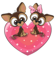 two dogs is sitting on a heart vector image vector image