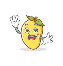 Waving mango character cartoon mascot vector