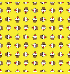 Yellow background cupcake seamless pattern vector
