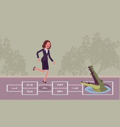 Young carefree businesswoman playing hopscotch vector