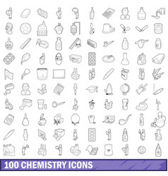 100 chemistry icons set outline style vector