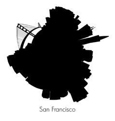 San Francisco circular skyline vector image