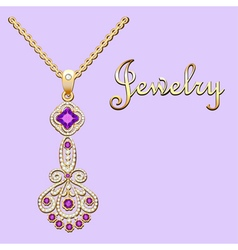 Pendant necklace with precious stones and filigree vector
