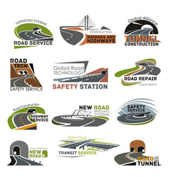 Road and highway construction icon set vector