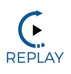 Replay audio and video logo design vector
