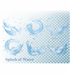 Splash of water on transparent background set vector