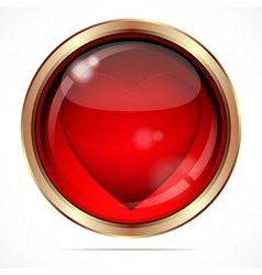 Bright button with a red heart vector image