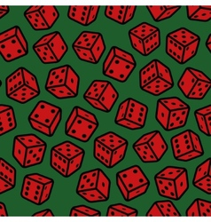 Red Gambling Dices Seamless Pattern on Green vector image