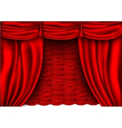 Red silk curtain with shadows vector