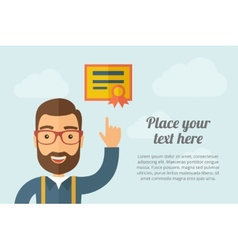 Man pointing the certificate icon vector