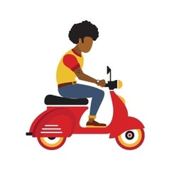 Hipster black young man rides a motorbike flat vector