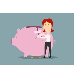 Businesswoman fixing the crack on piggy bank vector