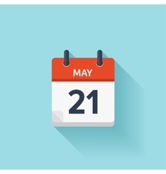 May 21 flat daily calendar icon Date and vector image