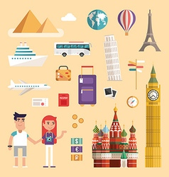 Set of tourism concept vacation flat style icons vector