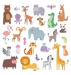 Cartoon zoo animals big set wildlife mammal flat vector