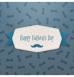 Happy fathers day realistic label with blue ribbon vector