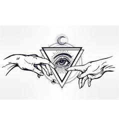 God and adams hands with divine eye vector