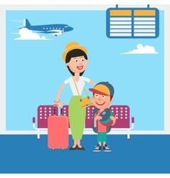Mother and son waiting to departure in airport vector