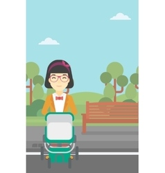 Mother walking with baby stroller vector