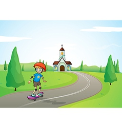 A boy and a church vector image