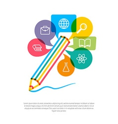 Abstract pencil with color speech bubbles and vector image