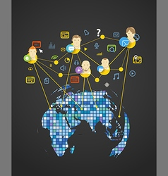 Abstract scheme of modern social network vector image vector image