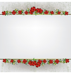 Abstract white grunge background with red floral vector