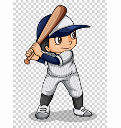 Baseball player holding baseball bat vector