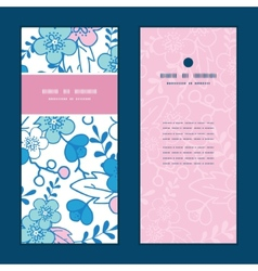 blue and pink kimono blossoms vertical vector image