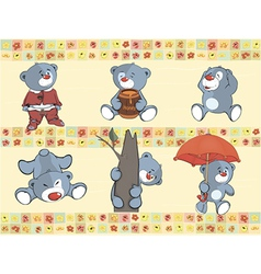 Border for wallpaper with stuffed bear cubs vector