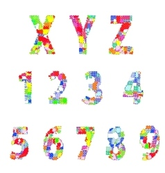 Bright creative cartoon comic alphabet vector image