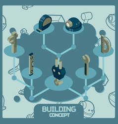 building color concept isometric icons vector image vector image