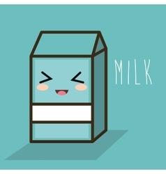 cartoon milk box blue design vector image