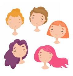 Collection of cute girls faces vector